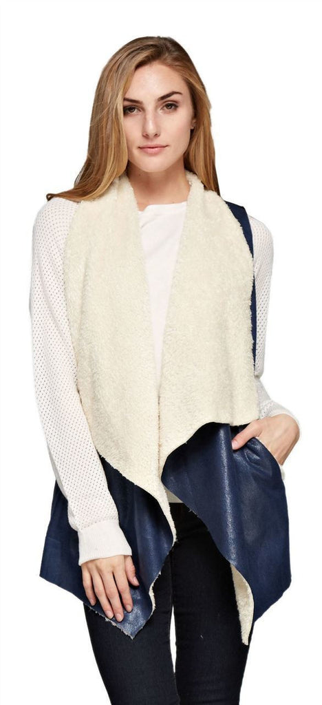 Shearling Faux Fur Vest with Suede and Pockets Navy
