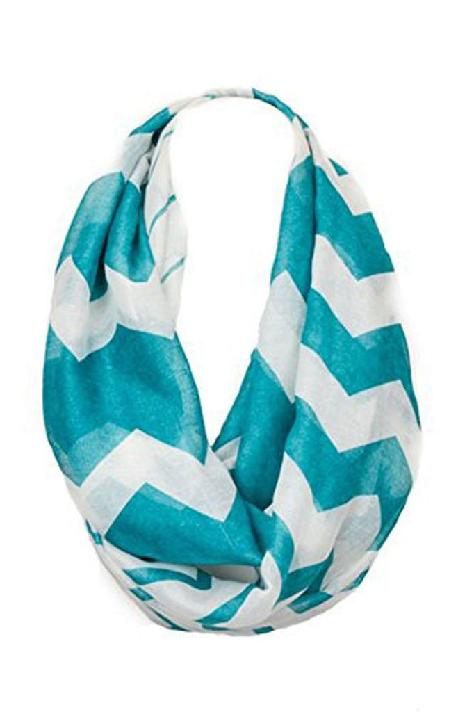 Fashion Scarf Infinity Shawl Teal Chevron One Size