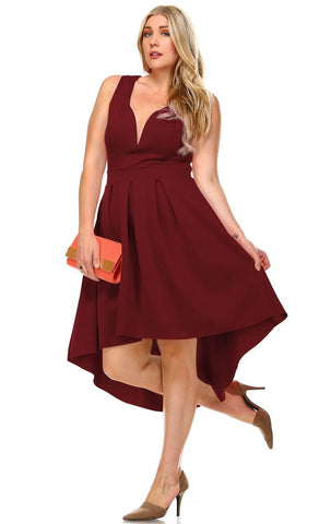 Plus Size Pleated Midi Cocktail Dress with Empire Waist Burgundy
