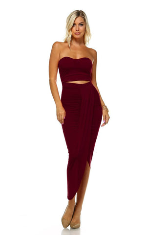 Strapless Bodycon Maxi Club Dress Ruched Detail with Cutout Burgundy
