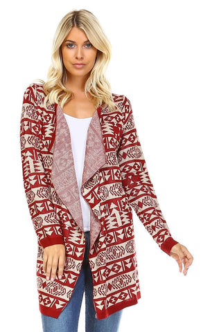 Open Front Oversized Fringe Cardigan with Stripe Aztec Burgundy Beige