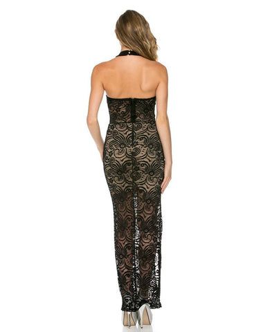 Paisley Lace Overlay Halter Top Maxi Dress Black Paisley