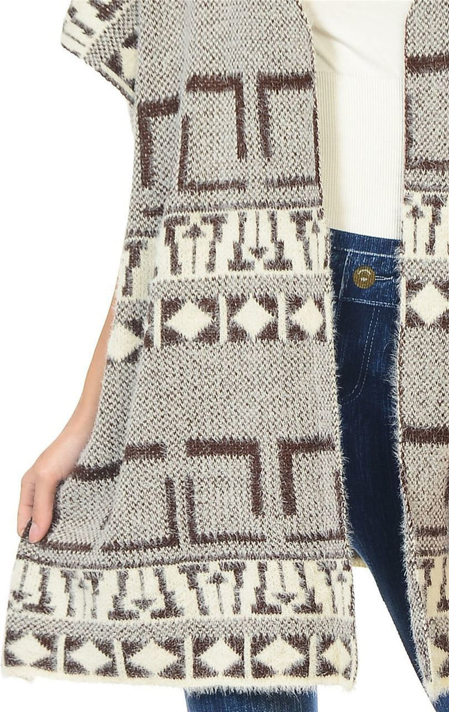 Aztec Cardigan Tribal Sweater Furry Vests Brown