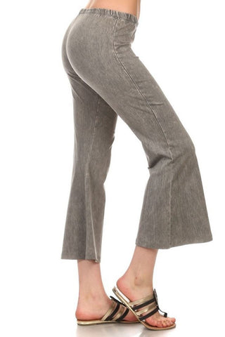 Cropped Pants High Waist Flare Denim Taupe Gray