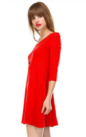 Strappy Back Dress Sleeveless and 3/4 Sleeve Red Orange