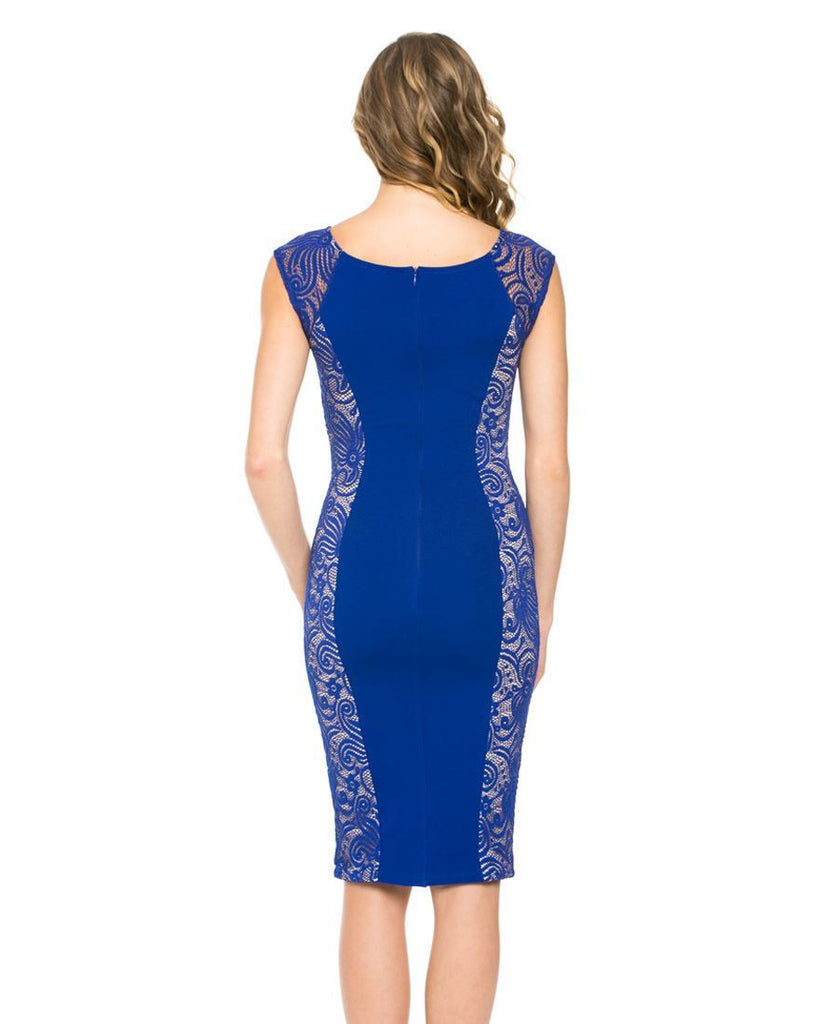 Stunning Classic Lace Side Panel Mini Dress Royal Blue Paisley