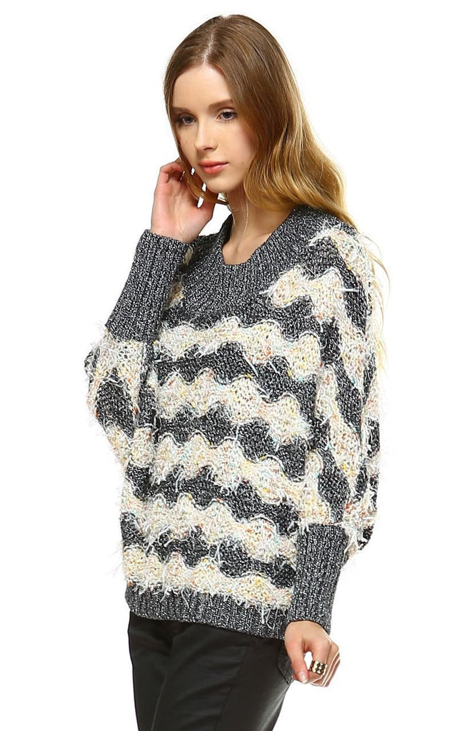 Fuzzy Sweater Doleman Sleeve Pullover Gray Orange