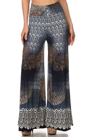 Foldover Palazzo Pants Medallion Denim Navy