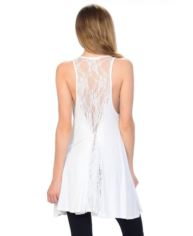 Fringe Tassel Patch Blouse with Lace Back Top White