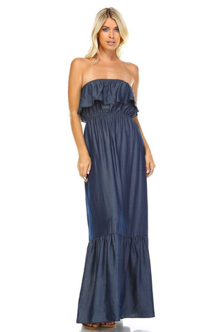 Chambray Ruffled Overlay Tube Maxi Dress Dark Blue Indigo