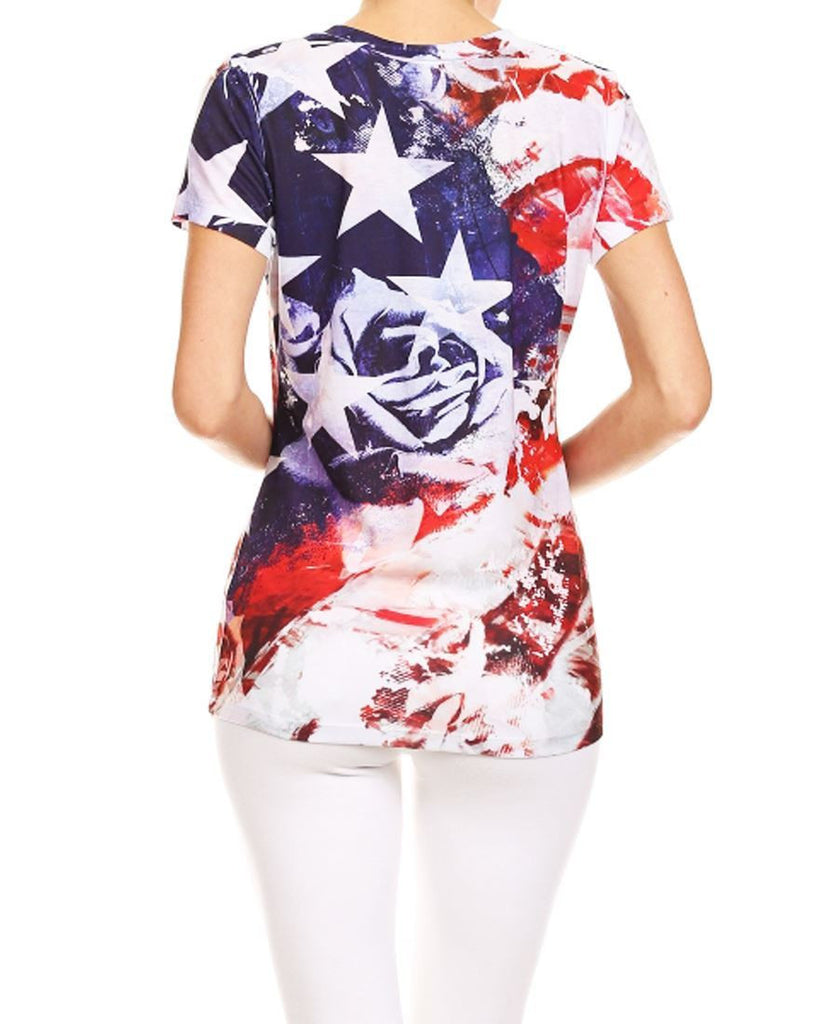 Patriotic Shirt Flag Floral Blue