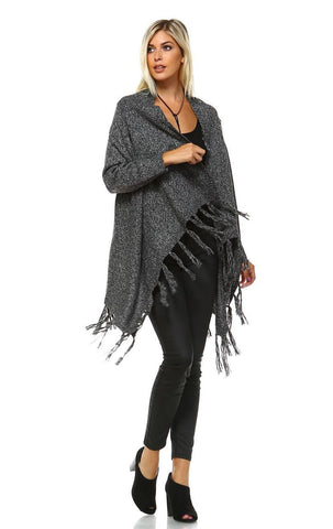 Cowl Aztec Cardigan Tribal Sweater Ponchos Gray Charcoal