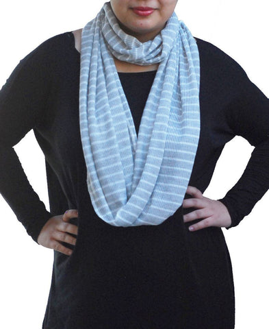 Fashion Scarf Infinity Shawl Stripe Gray White One Size
