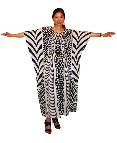 Vacation Resort Drawstring Maxi Dress Vertical Tribal Navy White