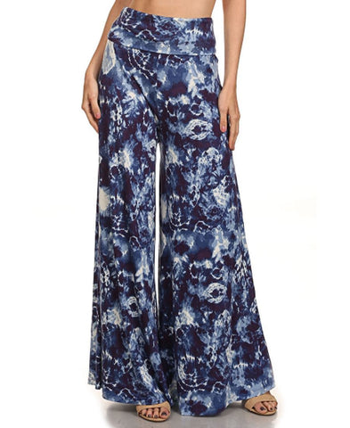Foldover Palazzo Pants Denim Blue Tie Dye Lion