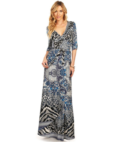 Maxi Dress with Sleeves Paisley Leopard Blue