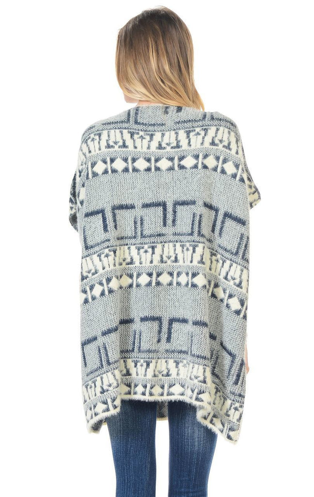 Aztec Cardigan Tribal Sweater Furry Vests Navy