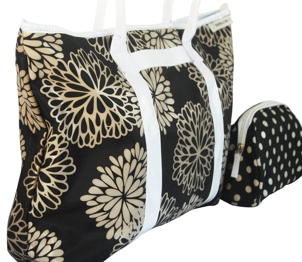 Handbag Black Taupe Flower 2 Piece