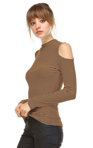 Cold Shoulder Top Long Sleeve Stripe Taupe Black