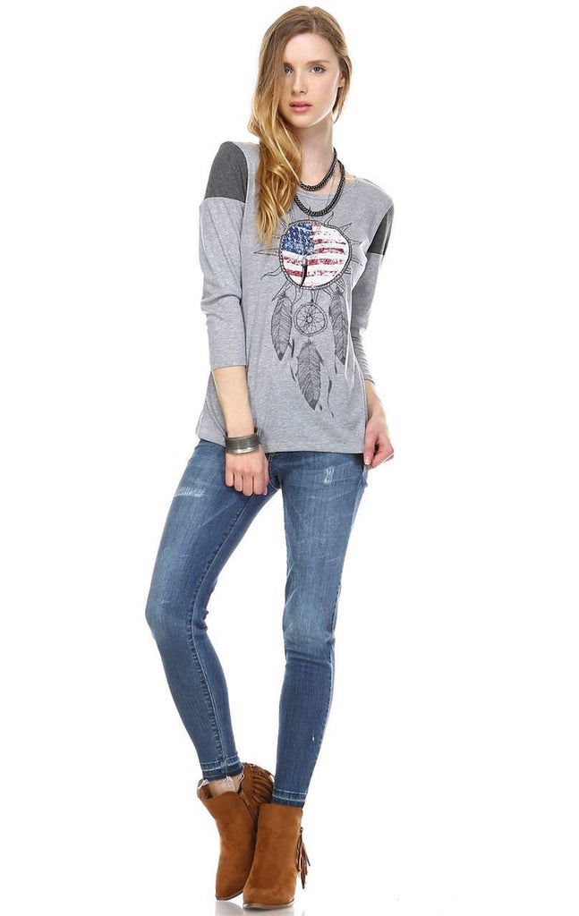 American Flag Shirt Wind Catcher Light Gray