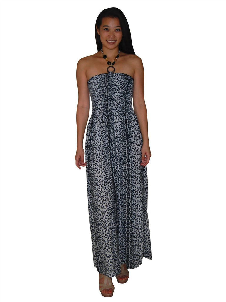 Silky Strapless Dress Cheetah Leopard Print Black Gray Ivory White