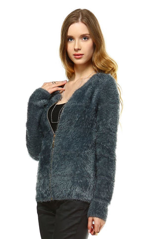 Fuzzy Zip Cardigan Sweater Gray