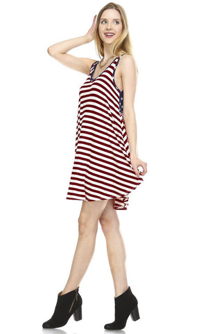 American Flag Dress Navy Star Collar V Wine White Stripes 1