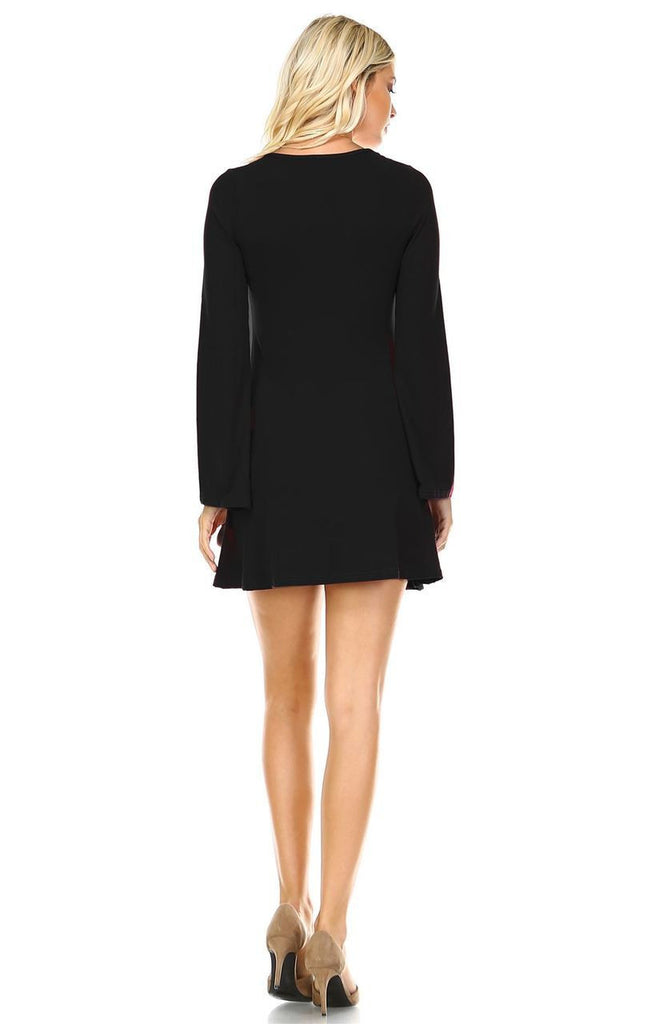 Tunic Top Fitted Dress with Long Bell Sleeves Black