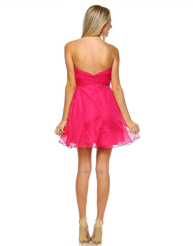 Strapless Jewel Chest Dress with Drape Skirt Fuchsia