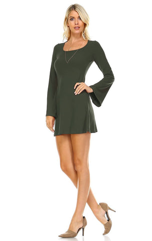 Tunic Top Fitted Dress with Long Bell Sleeves Olive