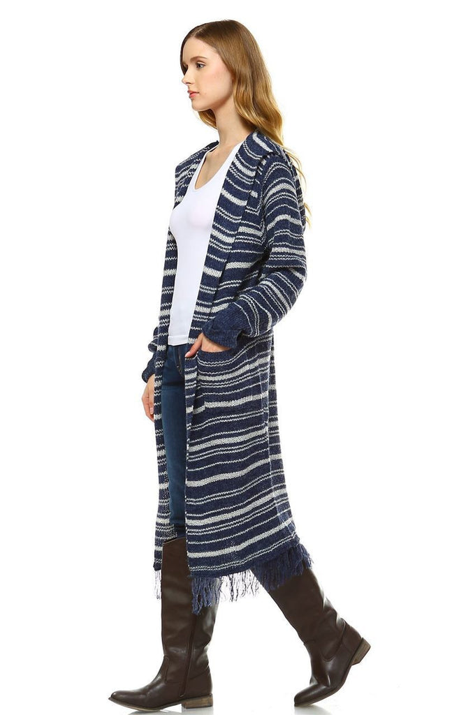 Long Cardigan Sweater Striped with Hoodie Hood Navy