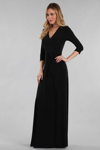 Maxi Dress with Belt Tie in Solid Black