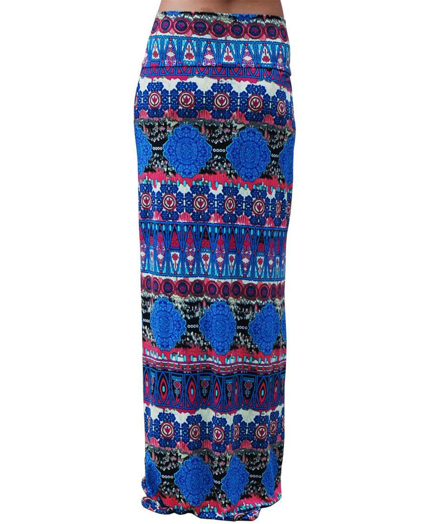 Maxi Skirt Blue Pink Asian Tribal Native