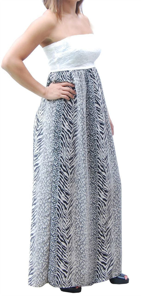 Black Gray Strapless Lace Mixed Zebra Leopard Animal Print Long Evening Maxi Dress