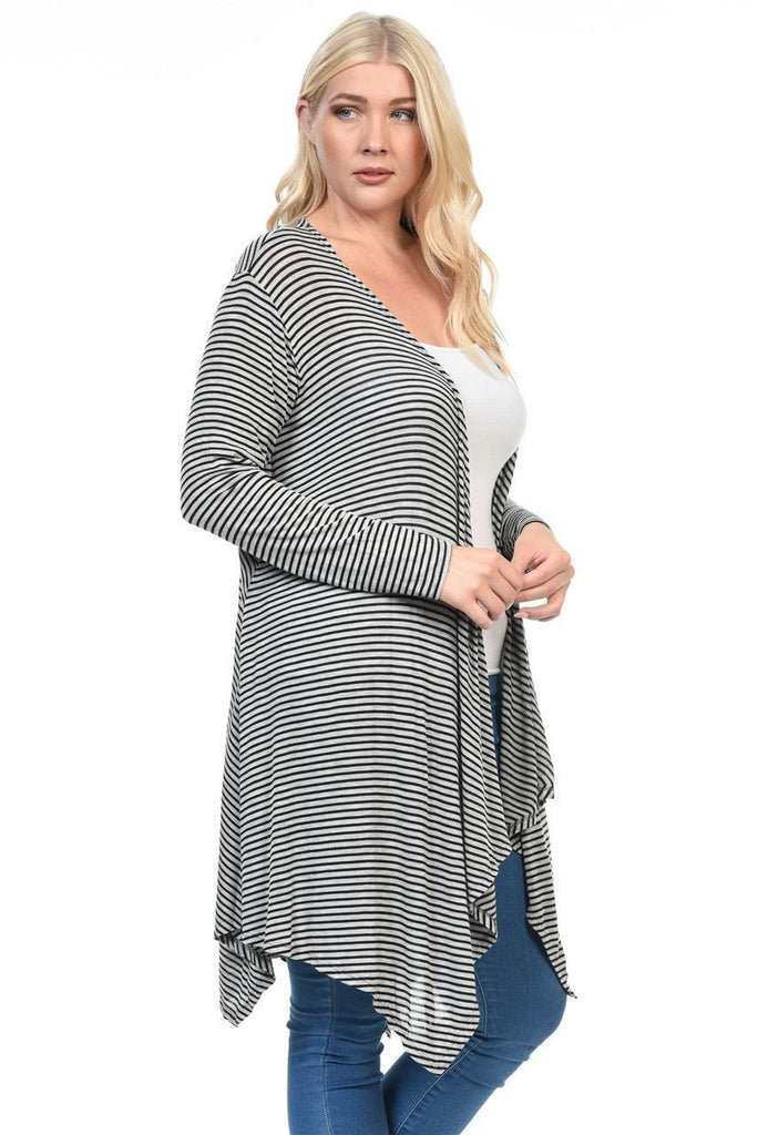 Plus Size Open Drape Flyaway Long Cardigan Gray Black