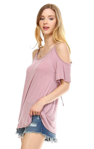Off the Shoulder Tops with Back Tie and Neck Trimming Dusty Mauve