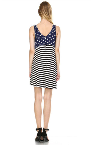 American Flag Dress Navy Star Collar V Black White Stripes 1