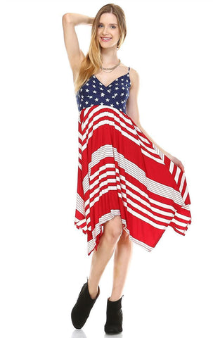Spaghetti V-Neck Navy Star Handkerchief Dress with Red Stripes