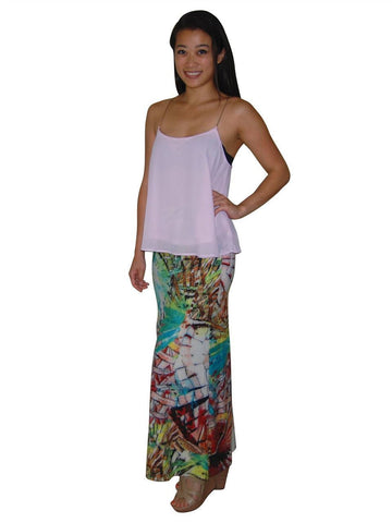Maxi Skirt Jungle Fan Green Pink