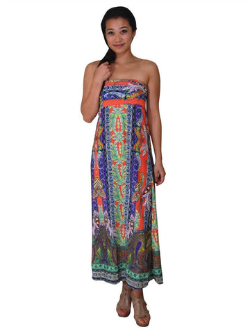 Maxi Skirt Greek Paisley Orange Purple