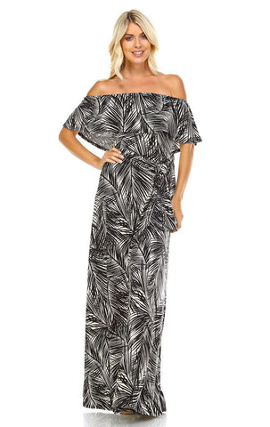 Off The Shoulder Wrap Maxi Dress Jungle Leaves Black White