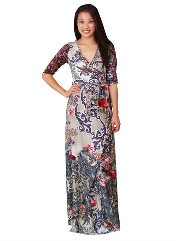 Maxi Dress with Sleeves Bombshell Red Three