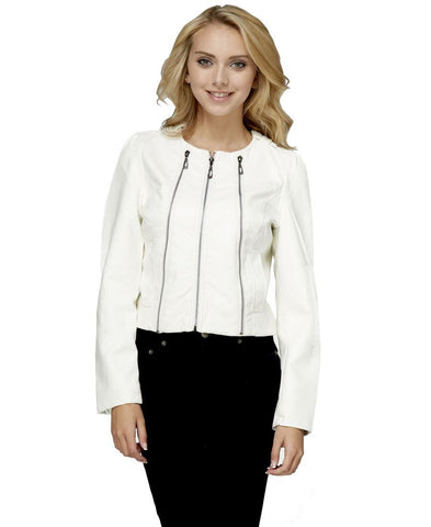 Womens Stylish White 3 Zipper Faux Leather Jacket
