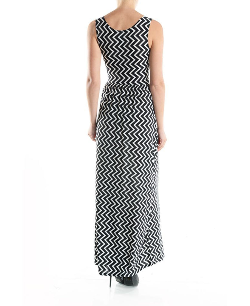Maxi Dress Sleeveless Colorblock Black White Zig Zag