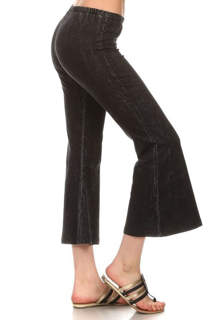 Cropped Capri Pants High Waist Flare Denim Yoga Pants Black