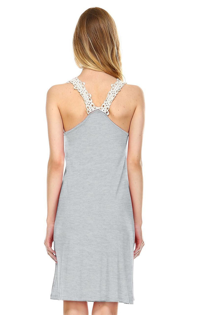 Mini Lace Dress with Crochet Details Heather Gray