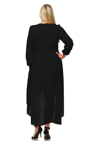 Plus Size Wrap Dress with Sleeve and Belt Black