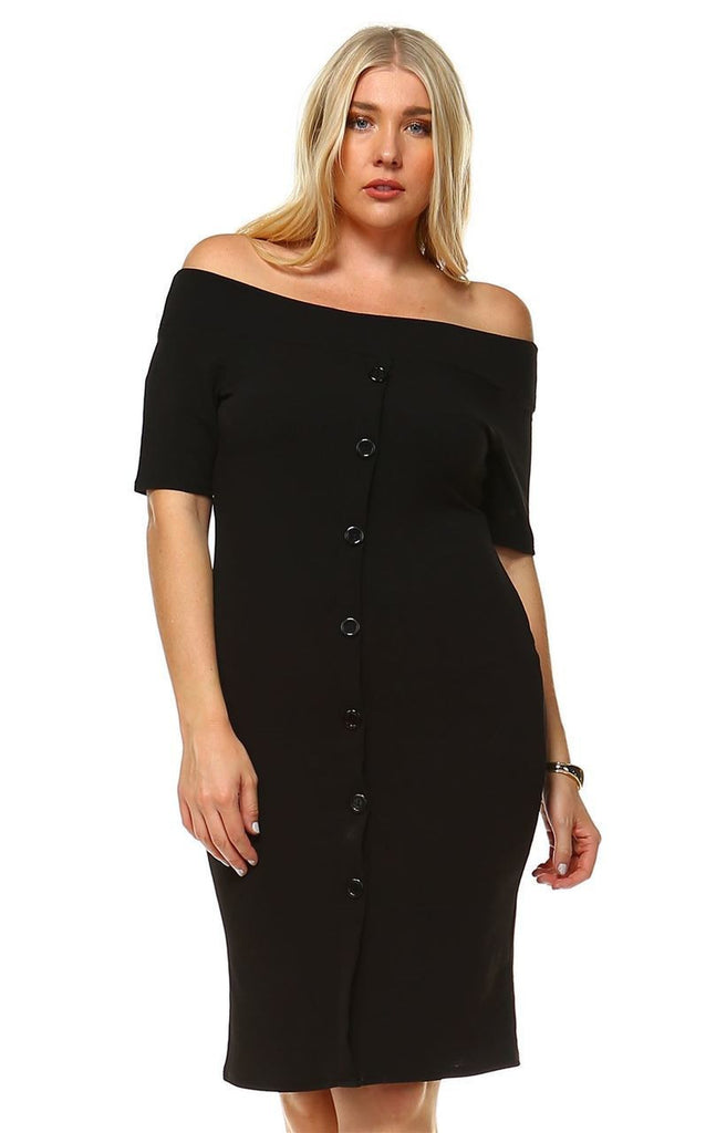 Plus Size Off Shoulder Bodycon Cocktail Dress Button Black