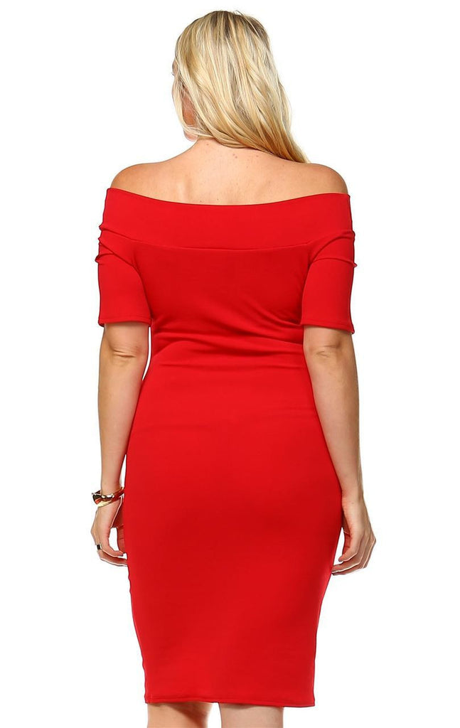 Plus Size Off Shoulder Bodycon Cocktail Dress Button Red