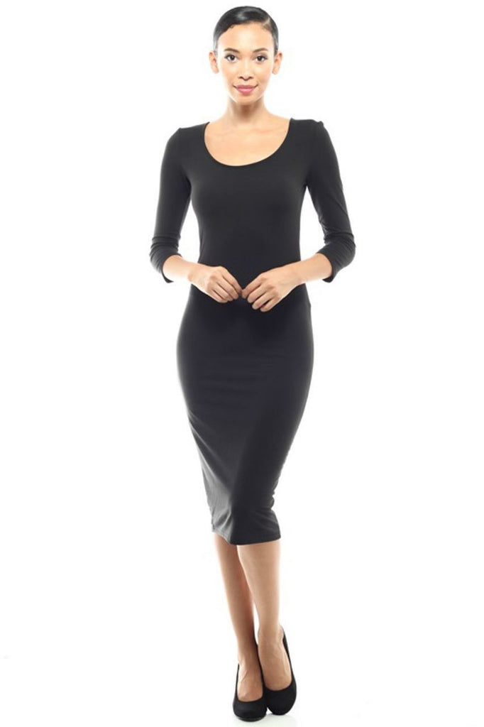 Casual Dress Dress Midi Round Neck Black